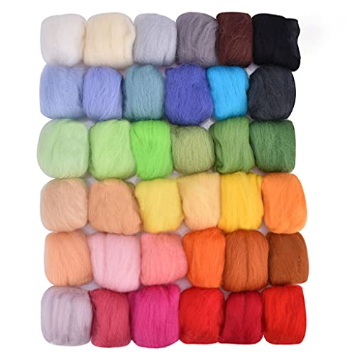 SHINAN Hecho a mano aguja fieltro Starter Kit Roving Wool Set con herramienta de fieltro Mano Spinning DIY Artesanías Materiales Accesorios