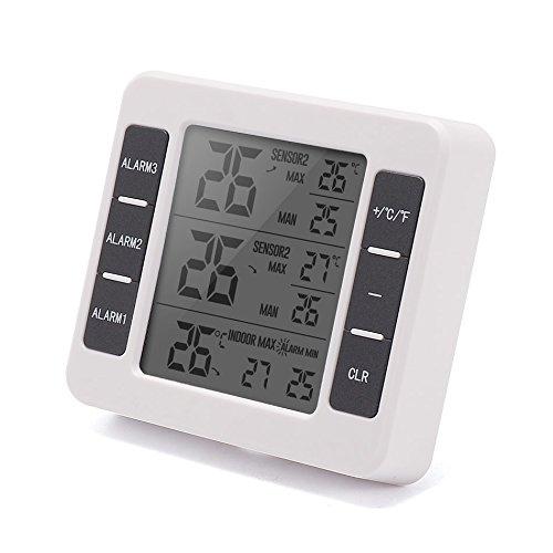 XMAGG® Station météo LCD Numérique Thermomètre Compteur de température Intérieur Extérieur Station Météo + sans Fil Capteur avec C/F Max Min Valeur D'affichage,B
