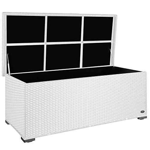 RS Trade Premium 'Sienna' 650l Polyrattan Garten Kissenbox wetterfest (regnet Nicht rein) 155 x 73 x 60 cm, Auflagenbox mit verstärktem Deckel & Gasdruckfedern, als Sitztruhe oder Tischplatte, Weiß