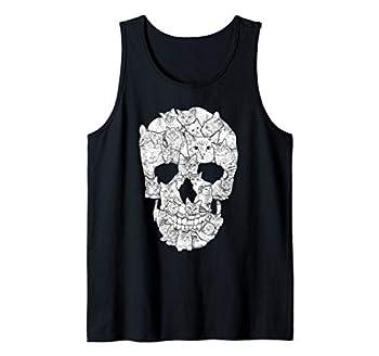 Cat Skull T-Shirt - Kitty Skeleton Halloween Costume Idea Tank Top