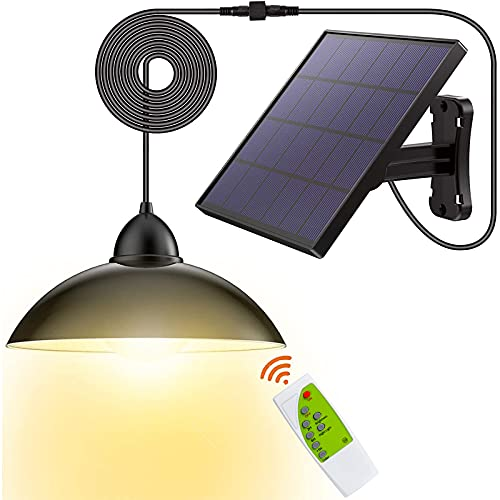 Solar-Lights Outdoor LED-Security Waterproof-Pendant Porch-Light - Patio Light, Auto Dusk to Dawn Light with Remote Control, Hanging Lights for Indoor, Yard, Garden, Decorate-Warm White