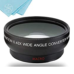43mm 0.45x Wide Angle Lens with Macro for Canon Vixia HF R80, HF R82, HF R800, HF R70, HF R72, HF R700, HF R30, HF R32, HFM40, HFM41, HFM50, HFM52, HFM400, HFM500 Camcorder