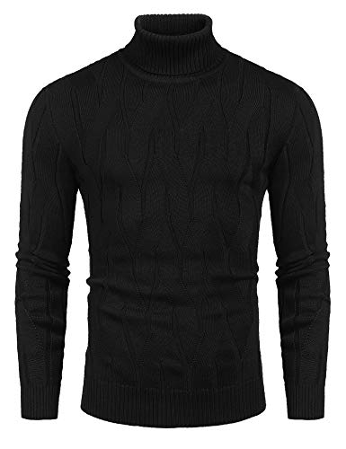 COOFANDY Men's Slim Fit Turtleneck Sweater Casual Knitted Pullover Sweaters Black