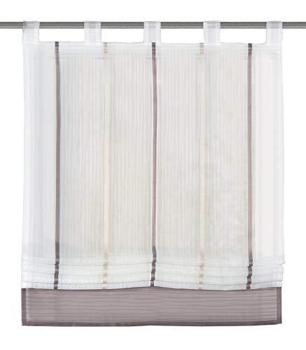 Home Fashion 79187-860 Raffrollo Gabi mit Schlaufen, transparent, Stein / 150 x 120 cm