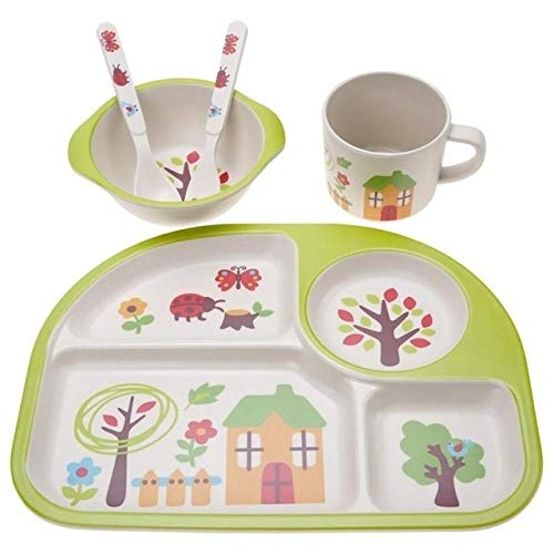 Light and beautiful, easy to carry. 5 PCS/set Eco-friendly Bamboo Fiber Baby Plate Dishes 4 Slots Children Tableware Dishes Dinnerware(Pink) Good insulation effect, can withstand 120 degree high tempe