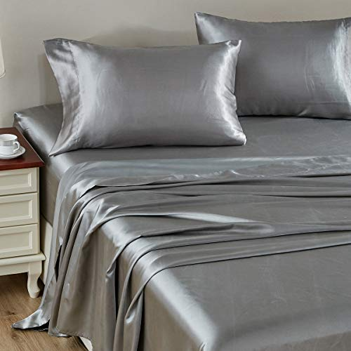 CozyLux Satin Sheets King Size 4-Pieces Silky Sheets Microfiber Light Grey Bed Sheet Set with 1 Deep Pocket Fitted Sheet, 1 Flat Sheet and 2 Pillowcases, Smooth and Soft