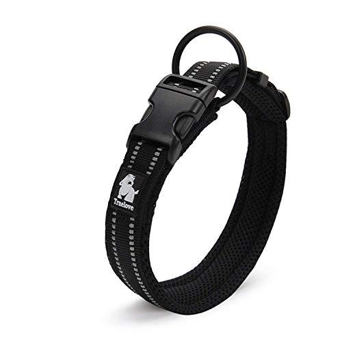 Truelove collar de adiestramiento para perro tlc5011reflectante Premium DuraFlex hebilla en Nylon mascota perro collares en negro, alto grado de nailon no Choke collares básico ahora disponibles