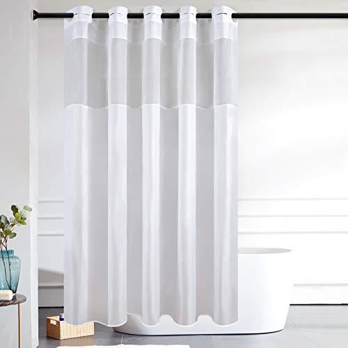 Furlinic Duschvorhang Überlänge Hookless Badvorhang mit Gazefenster Anti-schimmel Wasserdicht Waschbar Textile für Bad Badewanne 180x210 Weiß mit Groß Ösen.