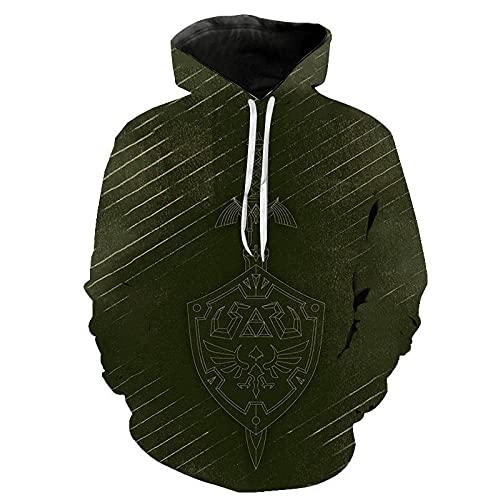 The Legend of Zelda Hoodies Men 3D Printed Hoodie Unisex Pullover Sweatshirt con Bolsillos Drawstring Hoodies Hombres-WY_XXL