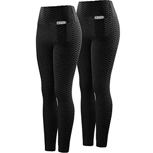 Gaowen Women Hollowing Out Hole Tight Yoga Pants Fitting Exercise Fitness Running Trousers with Pocket (Black, XXL)