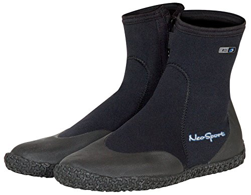 Neo-Sport Premium Neoprene Men & Women Wetsuit Boots, Shoes with puncture resistant sole 3mm, 5mm & 7mm for warm, moderate or cold water for watersports: beach, boat, lake, mud, kayak and more! Sizes 4 - 16