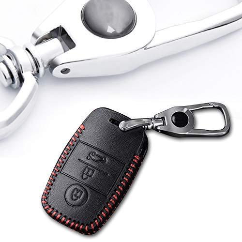 Schlüssel Hülle Leder Auto Schlüsseltasche mit schlüsselanhänger für 3-Tasten Keyless Go Fernbedienung Autoschlüssel Rotes Nähen 1 Stück Modell A