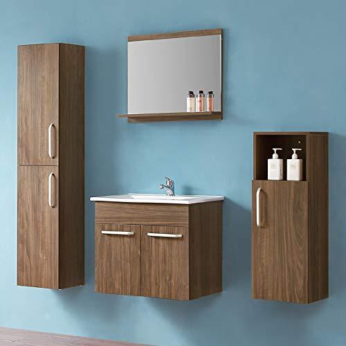 duschhaus2012 Badmöbel Set 5-teilige Kombination Spiegel Ablage Waschtischunterschrank Becken Hoch- und Midischrank Walnuss 60 cm