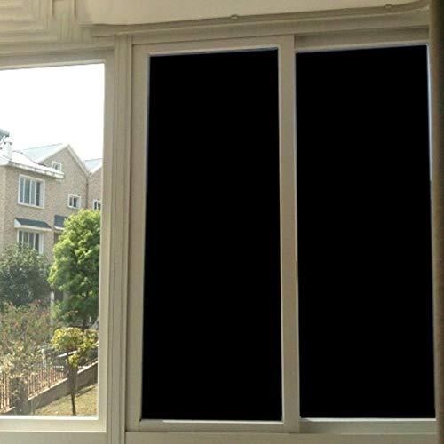 Verduisterend raamfolie, frosted privacy-warmtebeheersing Alle zwarte glasfolie, 100% licht UV-blokvenster Vinyl 75cm breed, 75x400cm
