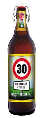 Geburtstag 30 Jahre - Herzlichen Glückwunsch - 1 Liter Flasche mit Bügelverschluss