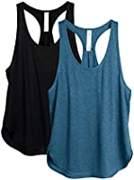 icyzone Workout Tank Tops for Women - Athletic Yoga Tops, Racerback Running Vest Top, 2-Pack