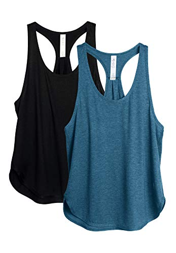 icyzone Workout Tank Tops for Women - Athletic Yoga Tops, Racerback Running Tank Top (XL, Black/Denim)