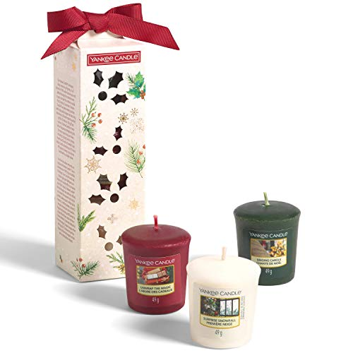 Yankee Candle confezione regalo | Candele profumate natalizie | 3 candele sampler profumate | Collezione Magical Christmas Morning