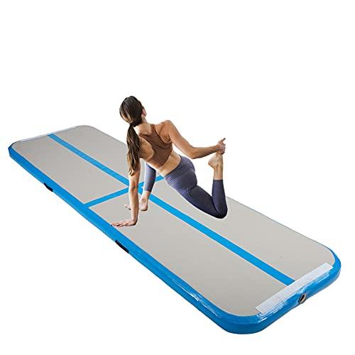 ZELUS 3M Colchoneta de Gimnasia Hinchable con 10cm Espesor Colchoneta para Volteretas para Interior o Exterior Air Track para Gimnasia, Yoga y Taekwondo (3M Azul)