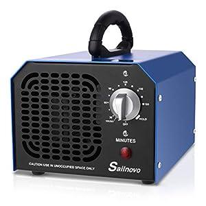 immagine di Sailnovo Generatore di Ozono, Purificatore d'Aria Ozono con Timer di 3 Ore, 6000mg / Ora Sterilizzatore a Ozono Disinfezione Dispositivo Ozono per Camera/Auto/Animali Domestici (6g)