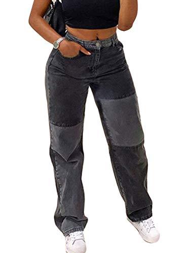 ORANDESIGNE Damen Patchwork Jeans High Waist Stretch Cutoffs Distressed Straight Leg Denim Jeans Hose 70er Vintage E-Girl Style Y2K Schlagjeans Hose E Grau XS