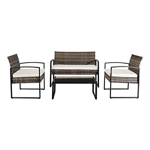 Moskado 4 PCS Patio Furniture Sets, Rattan Chair Wicker Set, Outdoor Bistro Sets, with Coffee Table, for Porch, Backyard, Garden, Poolside -Grey