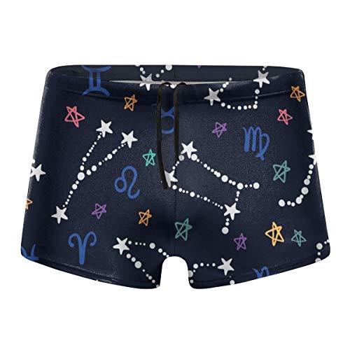 qingdaodeyangguo Hand Drawn Colorful Zodiac Men's Beach Swimming Trunks Boxer Brief Swimwear Underwear Board Shorts