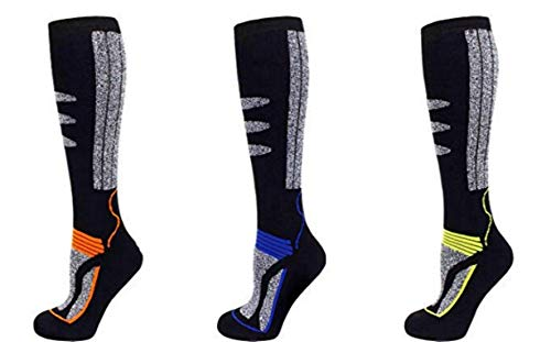 PistenSauser 3 Paar Thermo Kinder Skisocken, Ski Kniestrümpfe mit gepolsterten Funktionsbereichen und zusätzlicher Garantie (Orange/Blau/Gelb, 35-38)