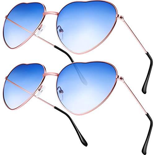 2 Paare Hippy Brille Herz Geformt Sonnenbrille for Hippie Verrücktes Kleid Zubehörteil, Rose Gold Rahmen (Gradient Blue Lens)