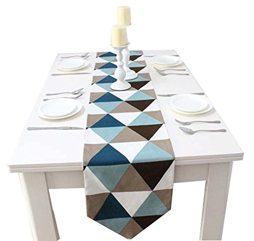 1pc Coton Creative Géométrie Style Table Top Décoration Bleu Chemin de Table