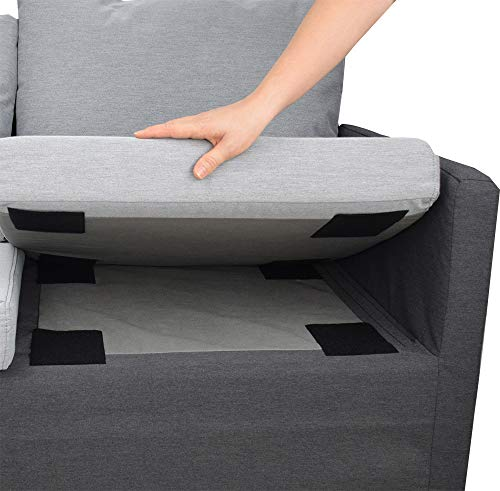 Aobrill Non Slip Cushion Pad, Hook Loop Tape for Reduce Couch Cushions Sliding (4 x 6 inch)- (4PCS, Black)