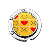 Gancho Plegable para Bolso, Colgador para Bolso, Juego Xoxo Tic TAC Toe y Tres Signos de corazón Rojo, Marca de Amor, relación Amarilla Plana