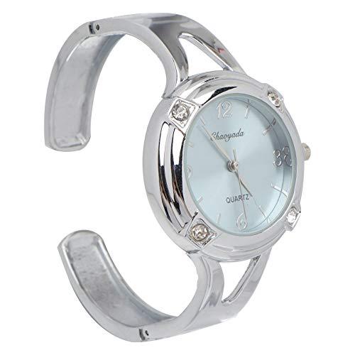 NICERIO Damen Armbanduhr - Manschette Armbanduhren für Frauen Strass Rundes Zifferblatt Edelstahl Armbanduhren Damen Armreif Uhr Armband Quarzuhr für Frauen