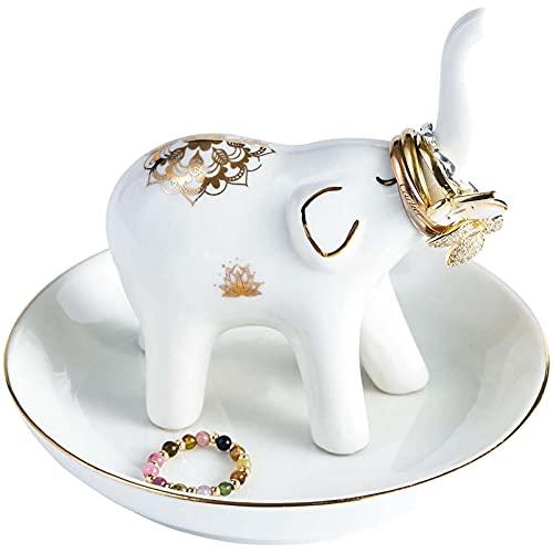 Anillo de diseño de elefante de cerámica plato de plato baratijas bandejas organizador de exhibición de joyería soporte tocador decoración para mujer cumpleaños de niña compromiso de boda blanco