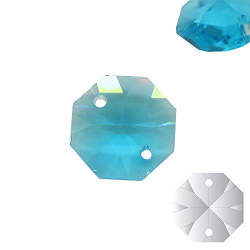Christoph Palme 10x kristallen koppen lichtblauw 14 mm 2-gats aquamarijn octagon gekleurde achthoek stenen gordijn voor kroonluchter en hobby