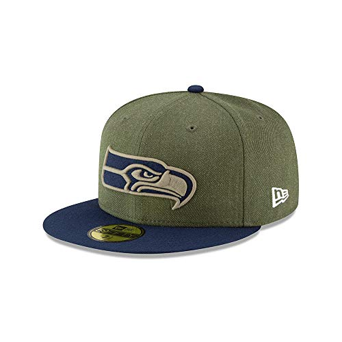 New Era Seattle Seahawks On Field 18 Salute to Service Cap 59fifty 5950 Fitted Limited Edition, Green, 7 1/4 - 58cm (L)
