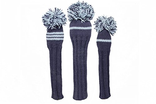Sunfish Knit Wool Golf Headcover Set Driver Fairway Hybrid Navy and Light Blue