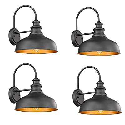 Bestshared Farmhouse Wall Mount Lights, Gooseneck Barn Light, Outdoor Wall Lantern for Porch with Black Finish and Contrast Color Interior