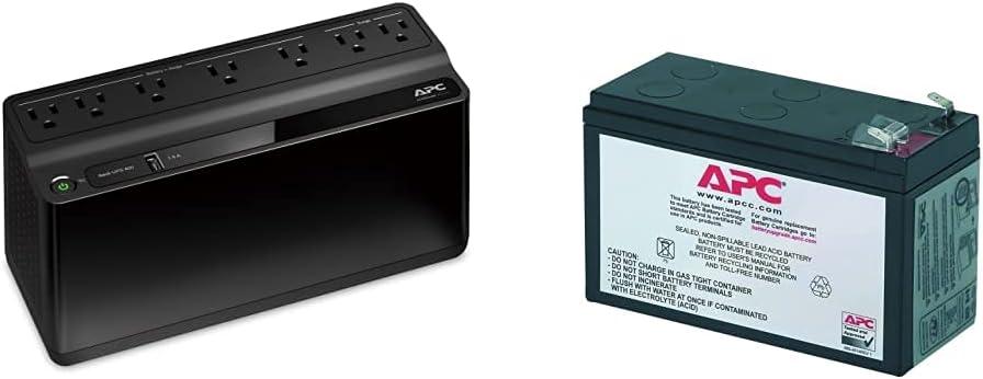 APC UPS, 600VA UPS Battery Backup & Surge Protector, BE600M1 Backup Battery Power Supply, USB Charger, Back-UPS Series Uninterruptible Power Supply & UPS Battery Replacement RBC17