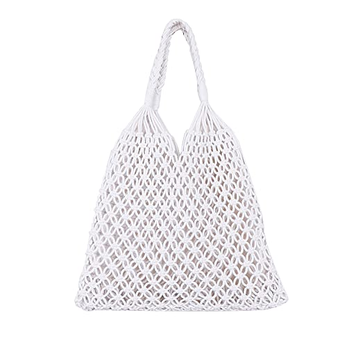 Bolsas de paja, bolso hueco Hobo bolsa de verano playa Tote tejido asa de hombro para mujeres y niñas, Hombre, blanco, Talla única
