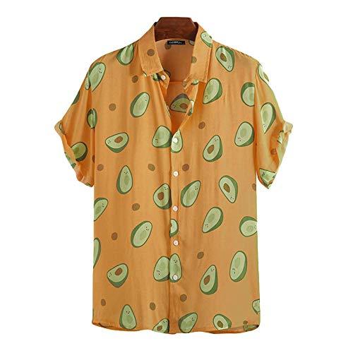 Camisa de Playa con Estampado de Aguacate para Hombre, Ropa de Calle Relajada de Gran tamaño, Camisas de Manga Corta para Acampar al Aire Libre, Verano S