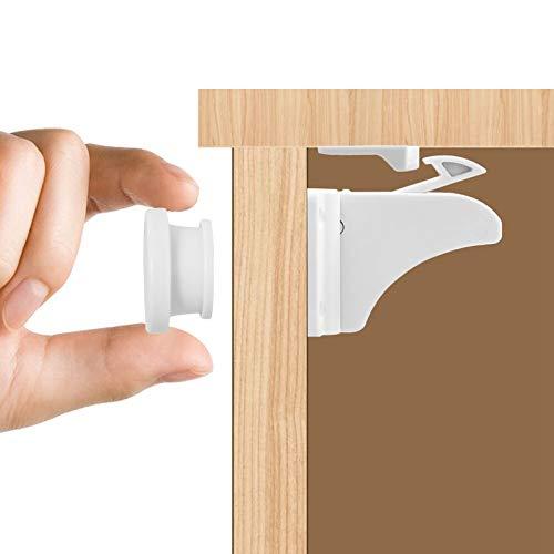 Magnetiska babyskåp lås, 12 lås 2 nycklar självhäftande magnetlådor lås barnsäkra skåp hakar och lås för skåp, inga verktyg eller borrning krävs