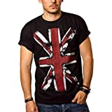 MAKAYA Camiseta con Bandera de Inglaterra - Union Jack - Negra Hombre S