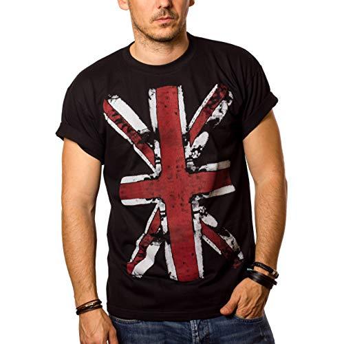 MAKAYA Camiseta con Bandera de Inglaterra - Union Jack - Negra Hombre L
