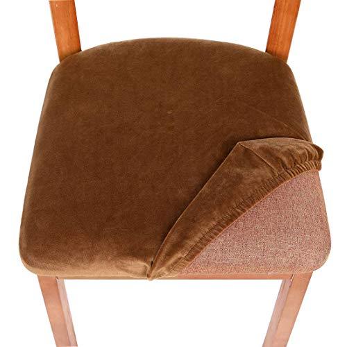 TFlower Daunkang - Funda para silla de comedor (2 unidades, terciopelo extensible, protección para asiento de silla, color marrón claro