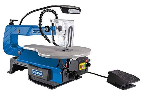 scheppach DECO-XLS Dekupiersäge - 120W | Schnitthöhe 50-406 mm | 12 mm Hubhöhe | 500-1700 U/min | Fußschalter | LED-Arbeitslampe