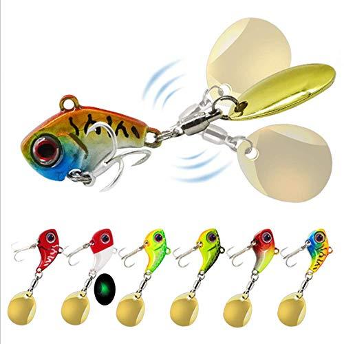DOITPE 6 piezas de anzuelos de metal para pesca de crankbait de fundición de cucharillas giratorias para lubina y trucha (16 g)