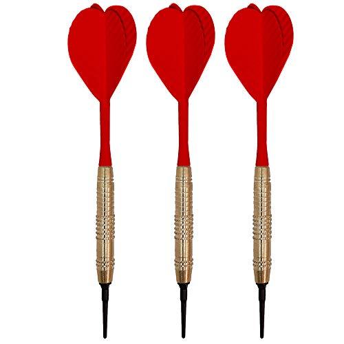 Billares y dardos Camara Dardos Punta de plástico para Diana Electronica, Juego de 3 Dardos con Pluma y caña de una Pieza (Rojo)