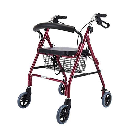 CHenXy Älterer Walker, Aluminium Einkaufswagen mit Bremsen Leichte, verstellbare Höhe mit Rädern, Belastbar bis zu 220 Pfund, Rot medizinische Walker (Color : Red)