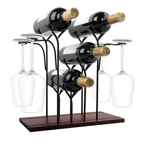 N\A Weinregal-Arbeitsplatte, 4 Flaschen und 4 Gläser, Weinregal aus Holz, perfekt für Wohn- und Küchendekor, Bar, Weinkeller, Schrank, Speisekammer (nur Weinregal)